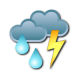 Periods of rain. Risk of thunderstorms